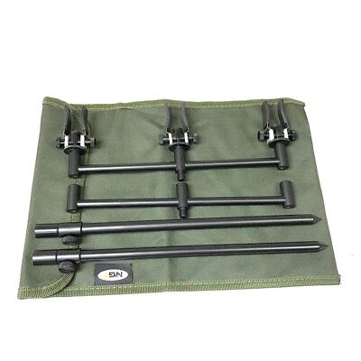 3 Rod 25Cm Ali Buzz Bar Set Black With Bag + 3 Rests Carp Fishing Tackle