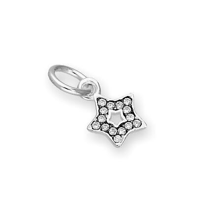 Real 925 Sterling Silver & Clear CZ Crystal Open Star Charm w Black Rhodium