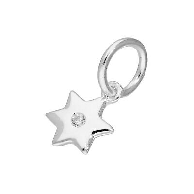 Real 925 Sterling Silver & Clear CZ Crystal Star Charm Night Sky Astronomy