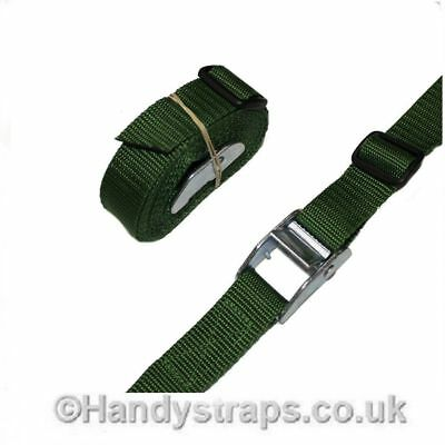 4 x 25mm 2.5 meter GREEN endless tie down Cam buckle Car Luggage straps