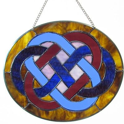 Stained Glass Celtic Wedding Knot Blue & Violet With Blue Wine Figure 8