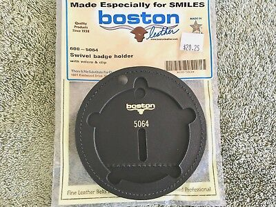 Genuine Boston Leather 600-5064 Round Recessed Clip On Badge Holder, 5 pt Star