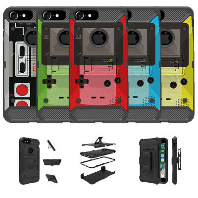 """For Apple iPhone 7 (4.7"""") Shock Resistant Dual Layer Stand Case - Retro Game"""