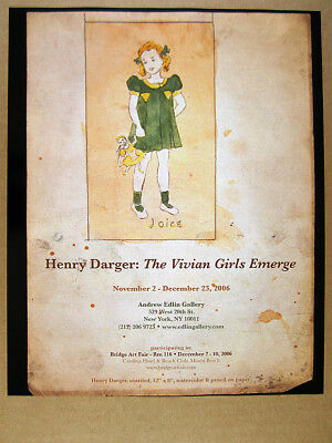 2006 Henry Darger The Vivian Girls Emerge exhibition vintage print Ad