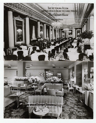 2 Vintage Postcards Palmer House Hotel Lounge & The Victorian Room Chicago Ill.