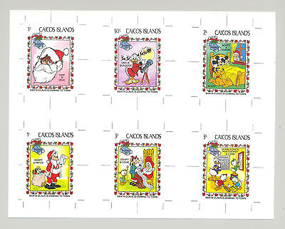 Caicos #22-31 Disney, Christmas 9v & 1v S/S on 3v Imperf Proofs