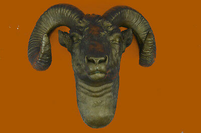 Bronze Collectible Detailed Extra Large Ram Head with Antlers Chic and Trendy