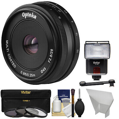 Opteka 28mm f/2.8 F2.8 Pancake Lens Kit for Fujifilm X Digital Cameras