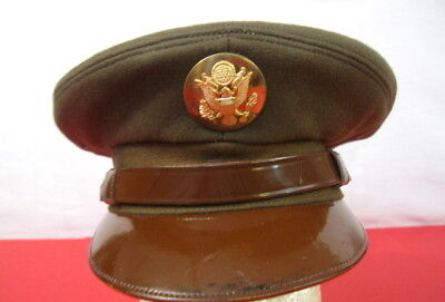 b87748e58ff WWII US Army NCO Enlistedman Visor Service Cap Hat w Brown Leather Brim 6 7