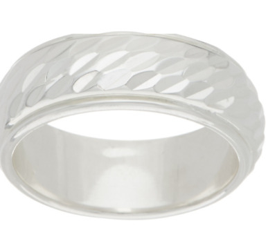 Silver Style Sterling Silver Diamond Cut Inlay Band Ring Size 7 Qvc