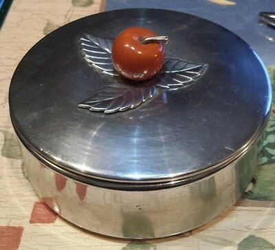 Vintage CHASE Art Deco Chrome Covered Box with Leaf Motif & Bakelite Cherry Top