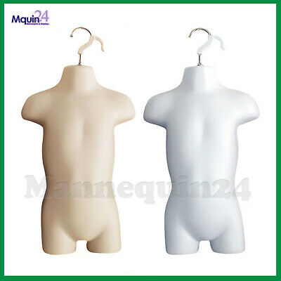 Toddler Mannequin Torsos Set Flesh White 2 Baby Hanging Dress Forms
