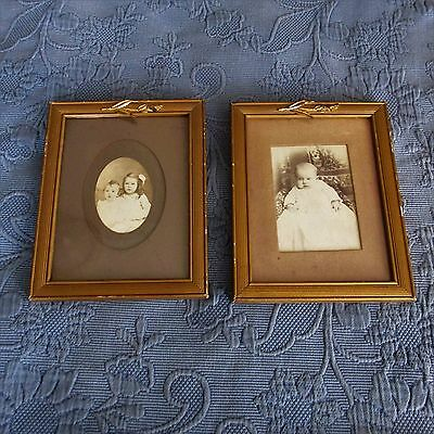Pair of Antique Victorian Gold Picture Frames,Photos of Children,Old Wavy Glass