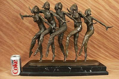 Museum Quality Group of Dancer Bronze Sculpture Marble Base Figurine Figure