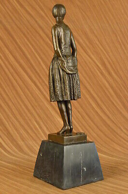 Victorian Female Lady Friend Gift Bronze Sculpture Marble Base Statue Figure Art