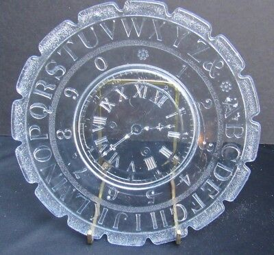 1891 Antique Pressed Glass Ripley Glass Children's ABC Plate w Clock & Numbers