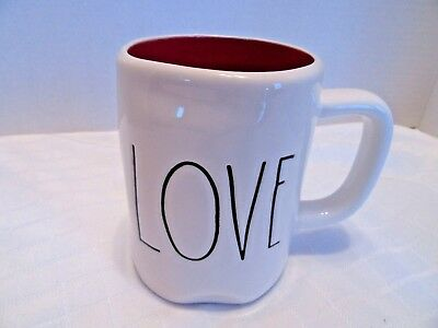 "Rae Dunn ""Love"" Farmhouse Letter Mug Red Interior Potter Shaped Retired Piece"