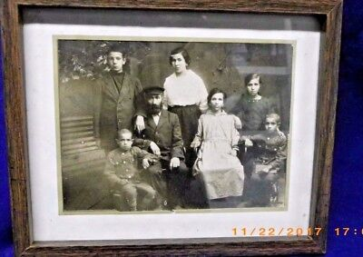 Antique Early Photo Family With Husband Wife 5 children very old and framed