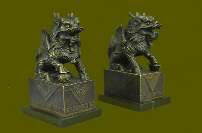 Two Chinese Food Dog Guardian Lion Dragon Hot Cast Bronze Sculpture Statue SALE