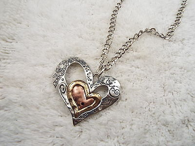 Large Mixed Metal Triple Heart Pendant Necklace (A53)