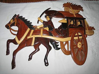 Vintage Wood Oriental Chinese Asian Taiwan Horse And Carriage Buggy  Wall Art