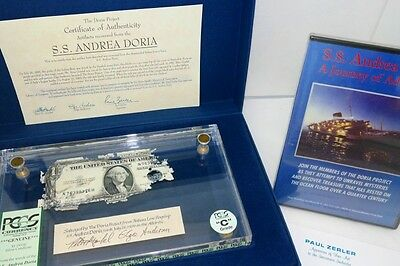 (1) Historic Shipwreck Currency US $1 Silver Cert. From SS Andrea Doria PCGS
