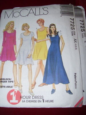 McCALL'S #7725 - LADIES ( 1 HOUR - 2 LENGTH - 4 STYLE ) DRESS PATTERN  4-18 FF