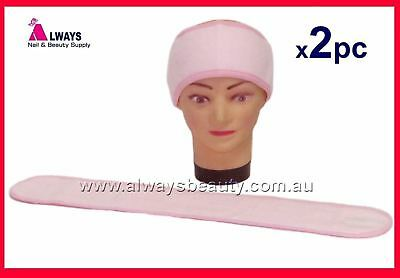 2Pc Pink Toweling Head Band Salon Spa Makeup Facial Towelling Sport Gym Headband