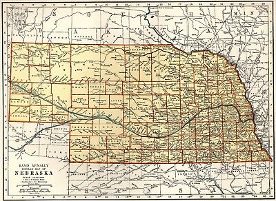 1940 Vintage NEBRASKA MAP Collectible State Map of Nebraska Gallery Wall 4863