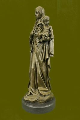 Close Out Mother Mary Madonna With Baby Jesus Bronze Figurine Figure BD