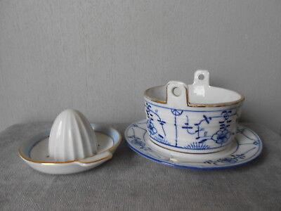 Antique french Porcelain blue floral JAM MARMELADE POT BOWL  + Fruit PRESS