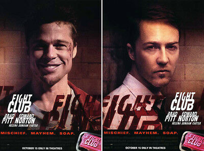 Fight Club (1999) set of 2 original movie posters advance single-sided rolled