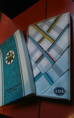 Vintage Boxed Set Of 3 Gents 101 Handkerchiefs Cotton Made In England
