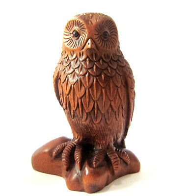 "Y4909 - 10 Years Old 2.5"" Big Hand Carved Boxwood Carving - Smart Owl"