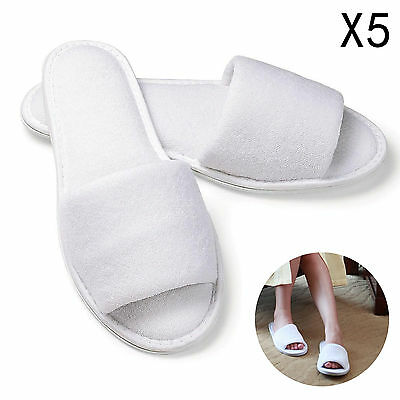 5P White Towelling Hotel Disposable Toe Slippers Terry Spa Guest Party Shoes