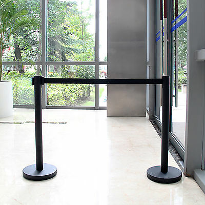 2x2M Black Stainless Steel Crowd Control Queue Rope Barrier Posts Stand