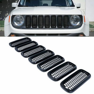 7x Front Grill Mesh Matte Black Grille Insert Guard Cover Trim For Jeep Renegade