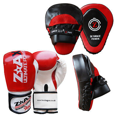 Leather Boxing Gloves and Focus Pads Set Training Punching Kick Boxing Pads