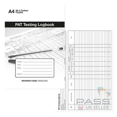 PAT Portable Appliance testing register Logbook, 50 sheets - up to 1100 records