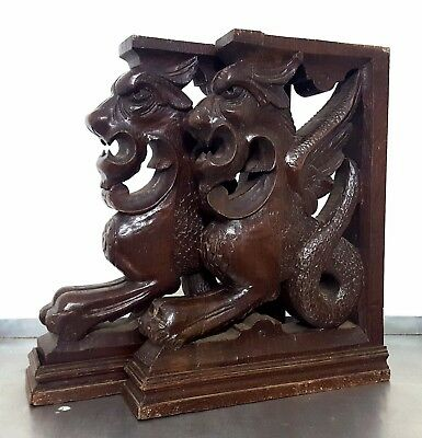 Corbel Bracket Matched Pair Antique French Oak Hand Carved Wood Griffin Pedestal