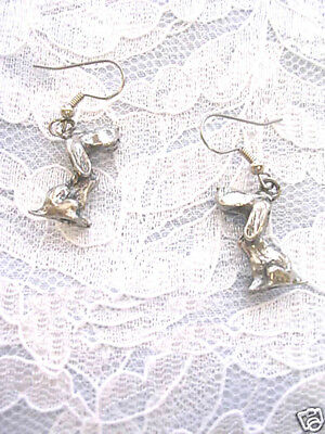 New 3D Basset Hound Dog Dangling Usa Solid Pewter Earrings Dogs Trackers Sniff