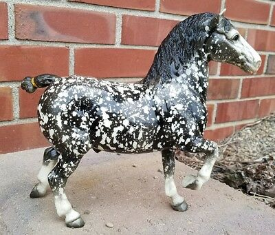 Vintage Black Dapple Glossy Belgian Horse Beauty Gray Breyer
