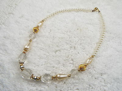 Goldtone Glass Pearl & Faceted Glass Bead Necklace (B9)