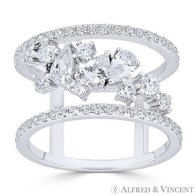 Right-Hand CZ Crystal Cluster .925 Sterling Silver Rhodium Double-Band Wide Ring