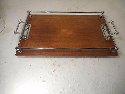 Quality Antique Oak Inlaid Sliver Plate Gallery Tray  ref 4090