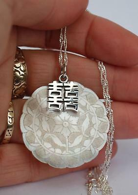 Antique mother of pearl sterling silver chinese pendant chain unique ladies gift
