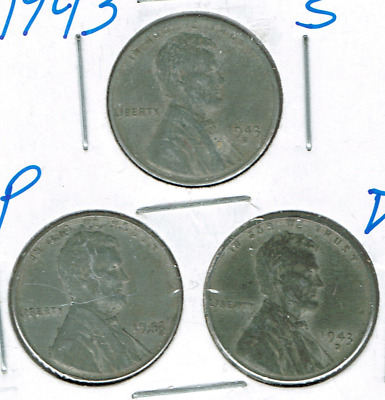 1943-D+P+S Three Circulated Business Strike One Cent Coins!