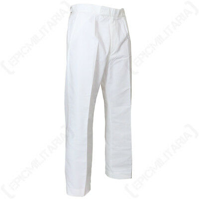 Original British White Military Trousers - Genuine Naval Navy Surplus Pants Mens