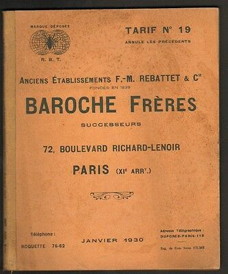 "PARIS (XI°) CATALOGUE / CHASSE ,OUTILLAGE, ART MENAGER ""BAROCHE Freres"" 1930"