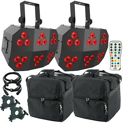 Chauvet DJ Wash FX 2 Multi-Purpose Effect Party Lights 2 Pack + Remote + Bags